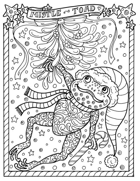Frog Printable Coloring Page Christmas Mistle Toad