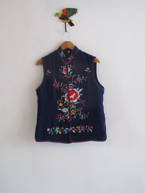 Royal blue silk embroidered vest. Avant garde by SwanDiveVintage, $70.00