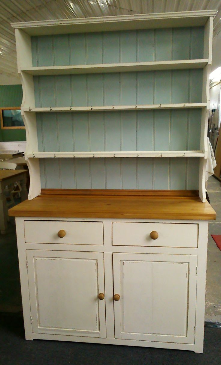 How about a bit of two-tone?!  Country pine dresser in 'lime white' with 'blue-grey' backing.
