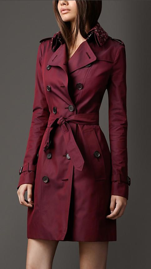 Gabardine Trench Coat - Burgundy will work so well in the wardrobe of a deep palette. Only tie at front if you have a waist.
