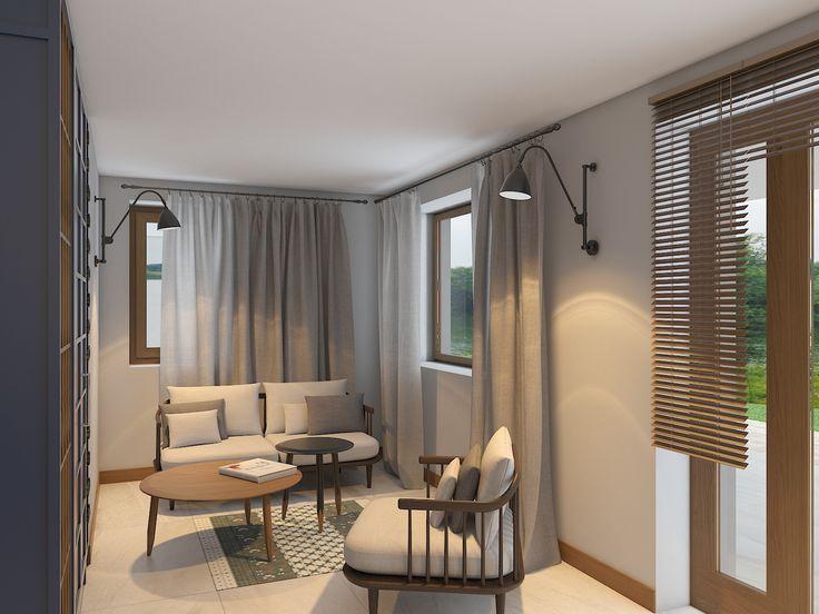 Лануж зона в стиле минимализм. Интерьер в нежных пастельных тонах с использованием натуральных экологически чистых материалов.