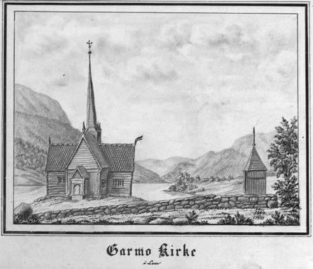 DigitaltMuseum - Garmo Kirke 1864 (1911). Tegning (Nu på museum; Maihaugen 1938)