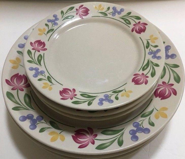 vintage Farberware dorchester  floral border white 10 12 inch dinner plate