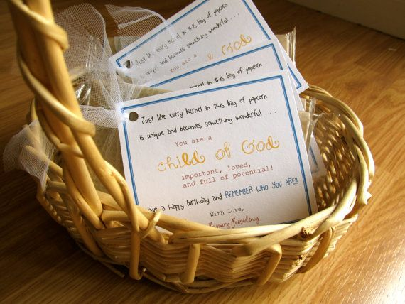 Cute idea. Child of God Popcorn meaningful birthday gift.