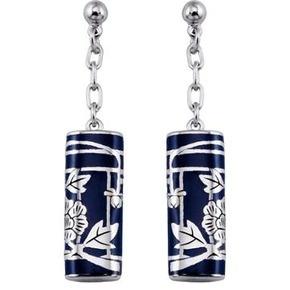 KENZO Fedora Navy Resin Drop Stud Earrings