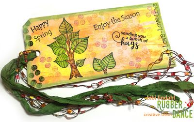 * Rubber Dance Blog *: Mixed Media Tag with Tree Stamps
