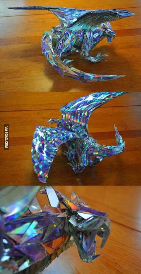 Dragon made entirely out of CD shards