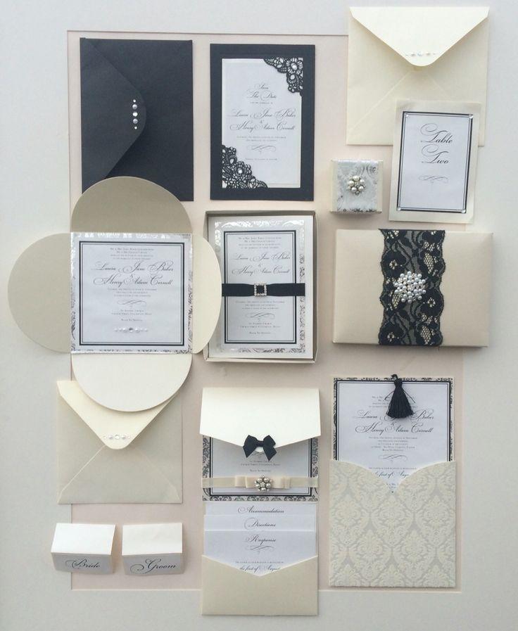 wedding stationery packages uk%0A Classic elegant black  u     Ivory wedding stationery by www ablazedesign co uk  Pocket