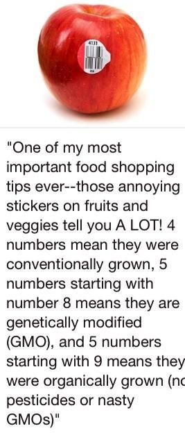 Take a second to look at the fruit and vegetables you are buying to see if their sticker starts with the number 9. If so then it is organic with no added pesticides and no GMO's