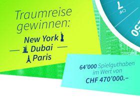 Gewinne mit dem Swisslos Glücksrad eine Städtereise nach Paris, New York oder Dubai im Wert von jeweils CHF 4'000.- , sowie diverse Swisslos Spielguthaben im Gesamtwert von CHF 470'000.- https://www.alle-gewinnspiele.ch/gewinne-stadtereise-nach-paris-new-york-oder-dubai/