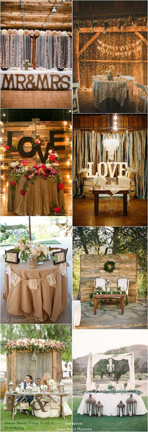 ideas for rustic wedding reception%0A Rustic country wedding ideas  rustic sweetheart table decor for wedding  reception   http