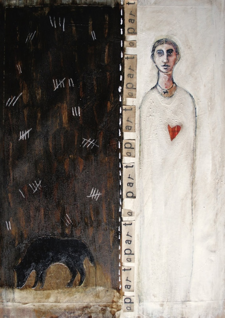 """Michele Meister, """"apart"""". Mixed media and collage on paper. 29 x43cm"""