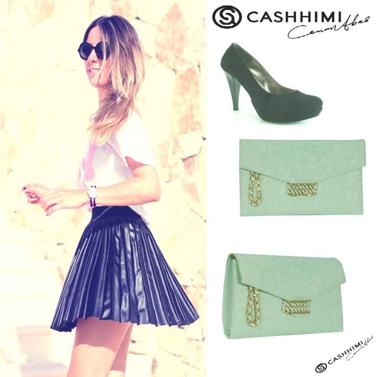 Cashhimi Green BEVERLY Leather Clutch