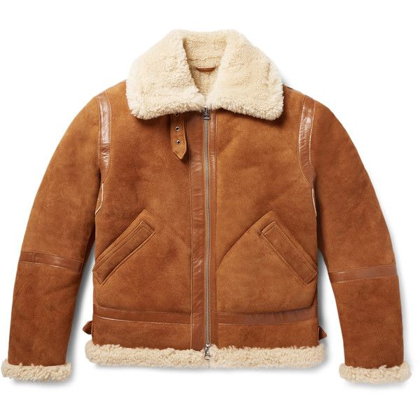 Acne Studios Ian Leather-Trimmed Shearling Jacket ($2,600) ❤ liked on Polyvore featuring men's fashion, men's clothing, men's outerwear, men's jackets, mens shearling jacket and mens tan jacket