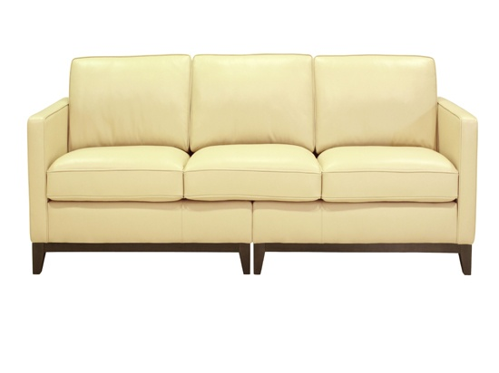 butter yellow leather sofa...