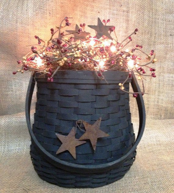 Primitive Baskets | Lighted Centerpiece Primitive Country basket by BlackSheepCountry, $45 ...