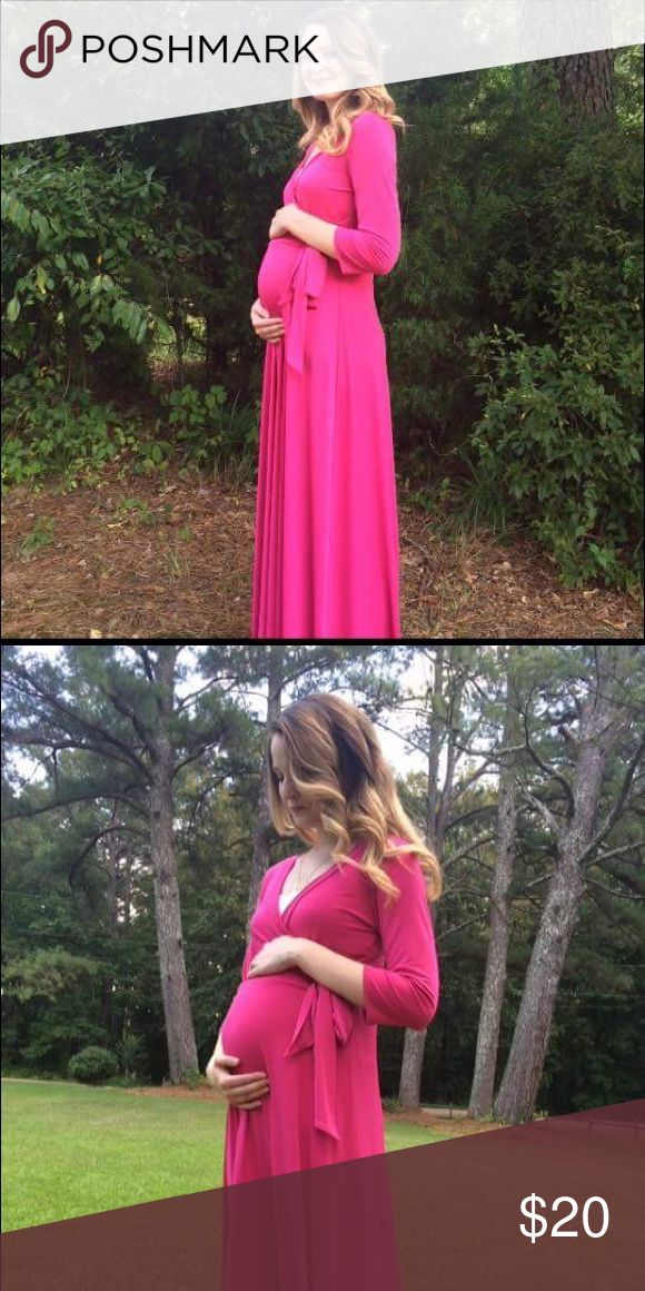 Hot pink maternity maxi dress Maternity maxi dress in hot pink janette fashion from pink blush maternity Dresses Maxi