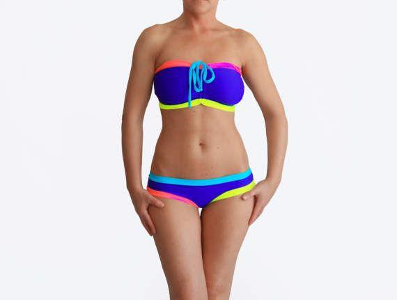 Purple Colorful Bikini D Cup Bathing Suit Big Bust by AncyShop