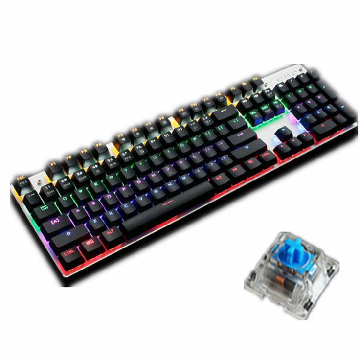 CERO Retroiluminación Teclado Para Juegos Mecánicos 87/104 Teclas Personalizables Negro/Azul Interruptores LED de Metal Con Cable USB Teclado para Juegos