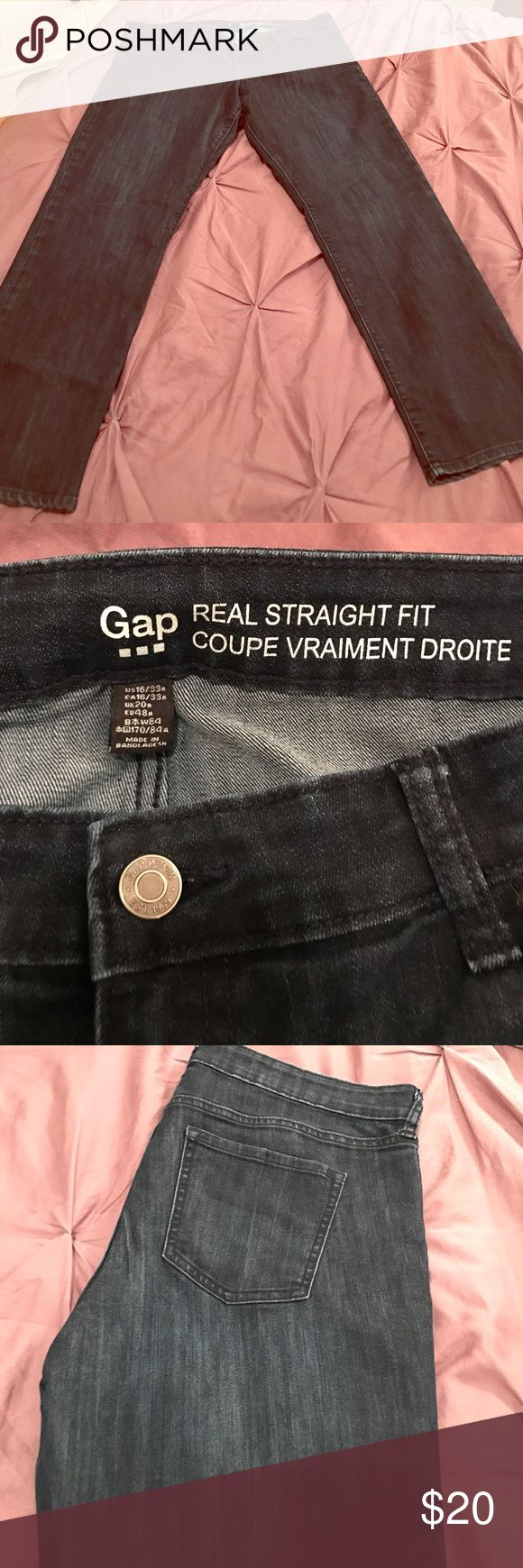 "Gap Jeans ""Real Straight Fit"" Dark Denim Gap Jeans ""Real Straight Fit"" Dark Denim. Size 16 Average. Straight leg, hardly worn! GAP Jeans Straight Leg"