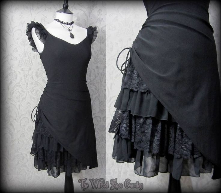 Gothic Romantic Lacey Black Bustle Effect Hitched Dress 10 Steampunk Victorian   THE WILTED ROSE GARDEN