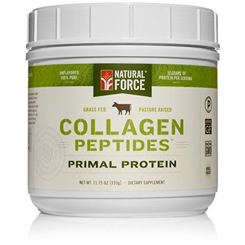 Collagen Peptides Best Collagen for Hair and Skin  Hydrolyzed Collagen Protein from Grass-Fed Pasture Raised Cows  Type I and III Collagen Powder Supplement by Natural Force 11.75 Ounce