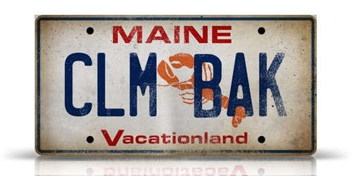 MAINE Lobster License Plate CLAM BAKE graphic art collage on canvas handmade artwork
