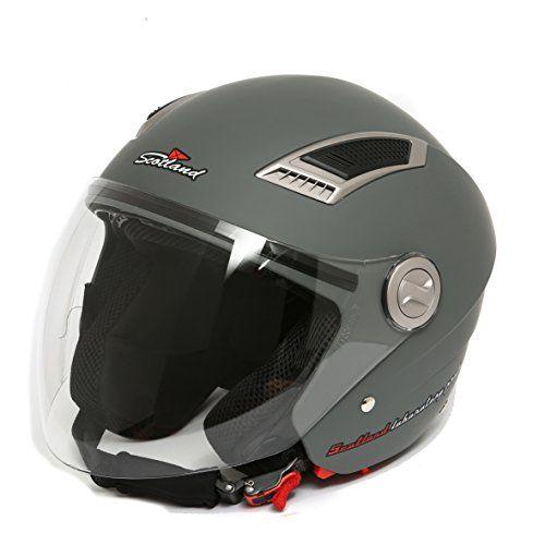 Scotland Helm Motorrad/Scooter mit Visier lang 59 Schwarz L