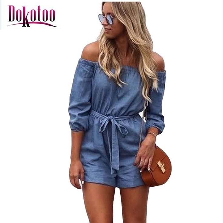 macacao feminino 2017 summer Denim Blue Off Shoulder Mini Romper Jumpsuit LC64246 summer body suits overall for women on sale