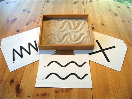 sand tracing for early handwriting skills and sensory..could be easily remade and incorporate many skills. We also use salt. We call them by kristin.small