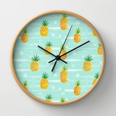 Pineapple Dots  Wall Clock by Yellow Button Studio - $30.00