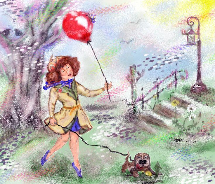"""Продолжаю рисовать - это эксперимент с использование рефов. Тема """"Весеннее безумие"""", я увидела эту тему в таком выражении, начало весны, легкости, любви, ароматов....  Девушка с собачкой в парке, будто летит на крыльях любви"""