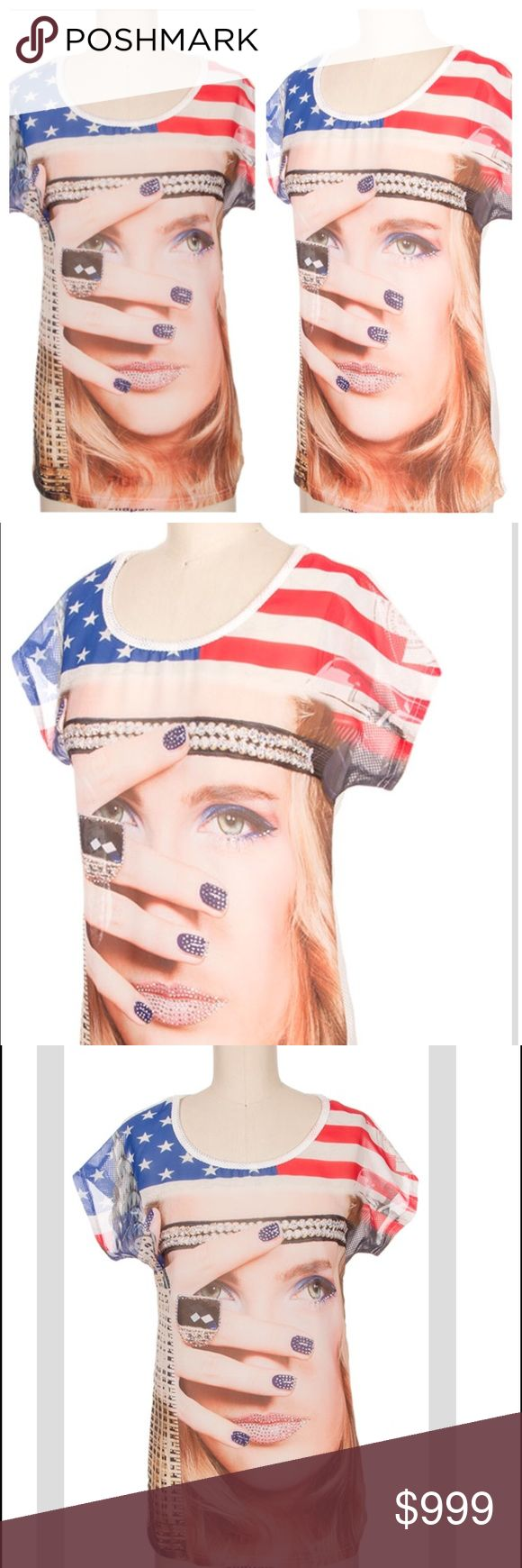 🆕Lots of Bling Patriotic Graphic Tee Beautiful design in the front with actual stick out bling stones on lips, fingernails, ring, and eyeliner. The front is made out of see through fabric see the last picture. The back of the shirt is white and perforated completely. This is a great festival shirt and great for Memorial and 4th of July. Size S, M, L This is a very stunning shirt very vibrant. Evolve Always Tops Tees - Short Sleeve
