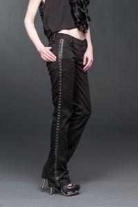 Queen of Darkness - Gothic Hose mit Seitenapplikationen in Nieten Leder Optik