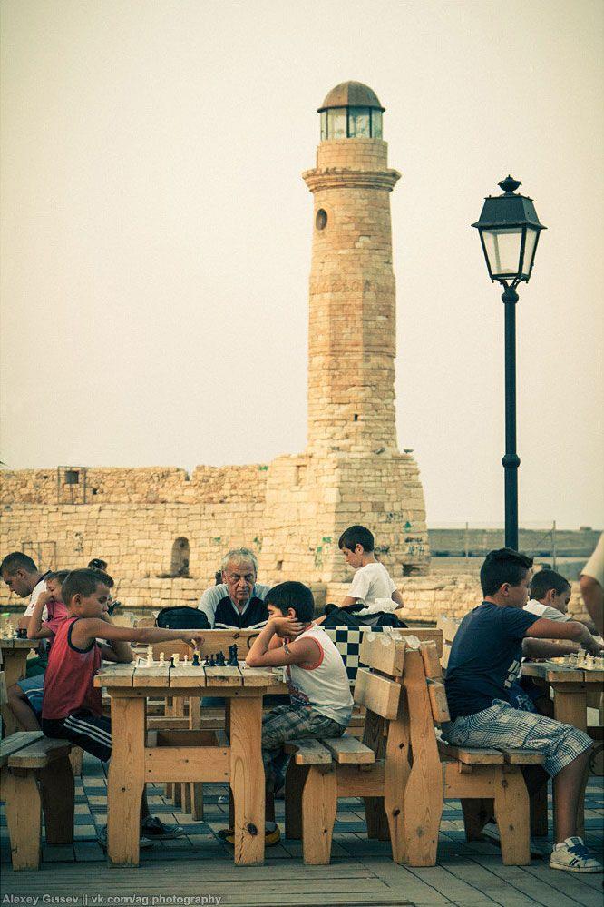 Little Chess Players @ Rethymno Lighthouse, Crete, Greece