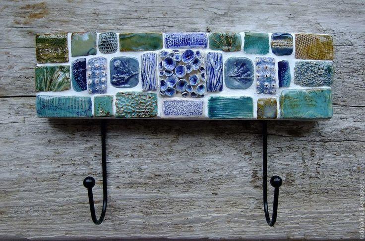 """Купить Вешалка """"Морская"""" - бирюзовый, синий, морской стиль, вешалка, ключница, керамика, глазури, дсп"""