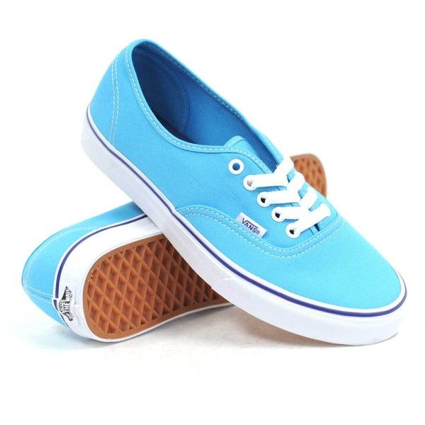Vans Authentic (Cyan Blue/True White) Women's Shoes featuring polyvore, fashion, shoes, sneakers, vans, blue, white low top shoes, vans trainers, white sneakers, rubber sole shoes and low tops