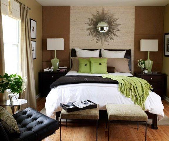 Коричневая спальня с зелеными акцентами   #коричневый #спальня