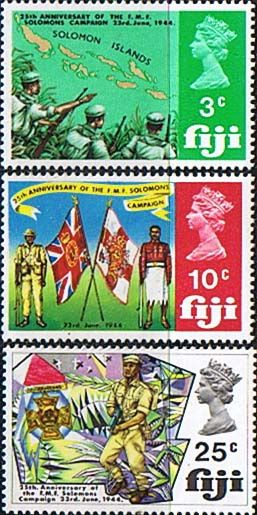 Postage stamps Fiji 1969 Fijian Military Forces Solomons Campaign Set Fine Mint SG 408/10 Scott 277/9 Stamps for sale Take a look