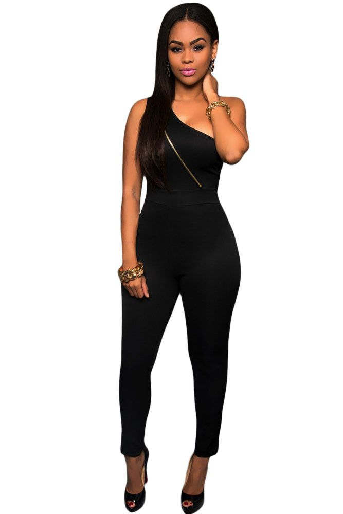 Sexy Black Gold Zipper One Shoulder Jumpsuit LC60927 sexy romper overall for women club wear combinaison femme on