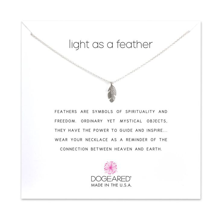 light as a feather necklace, sterling silver