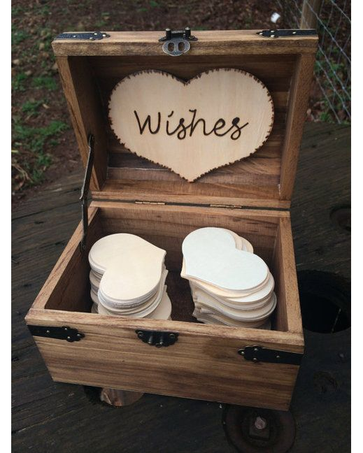 Wooden Wedding Wishes Chest - Early American Great Rustic Wedding Guest Book Alternative!   http://www.countryoutfitter.com/products/57035-wedding-wishes-chest-early-american (alternative wedding decorations)