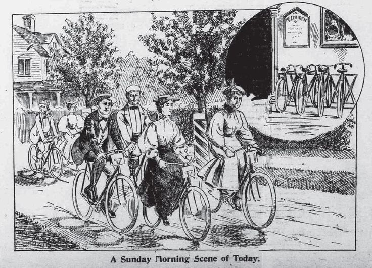 "https://flic.kr/p/9fskm6 | Sunday Morning Cycle | From Washington DC Morning Times, August 9, 1896.  chroniclingamerica.loc.gov/lccn/sn84024442/1896-08-09/ed-... ""A Sunday Morning Scen of Today."" This is, however, mostly wishful thinking from what I have read - bicycle riding went up, church attendence went down.  As did cigar smoking (down), as another example.  Cycling was not popular with its competition. My cycling blog is at wheelbike.blogspot.com/"
