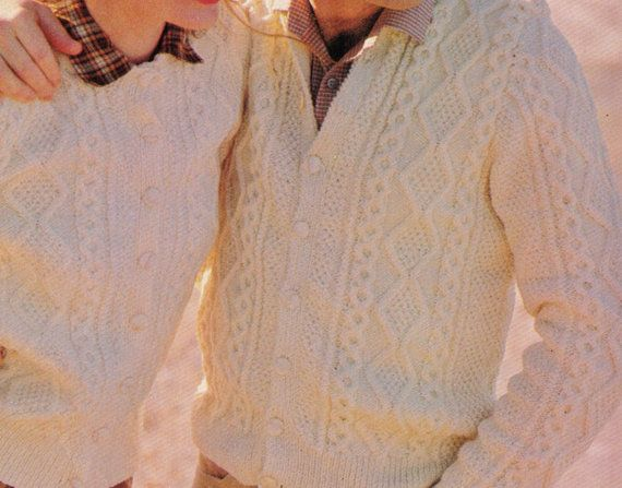 HiS AnD HeRS MaTCHING ARAN CABLE BUTToNED by Crafting4Ever2013, $2.50  INSTANT DOWNLOAD KNITTING PATTERN