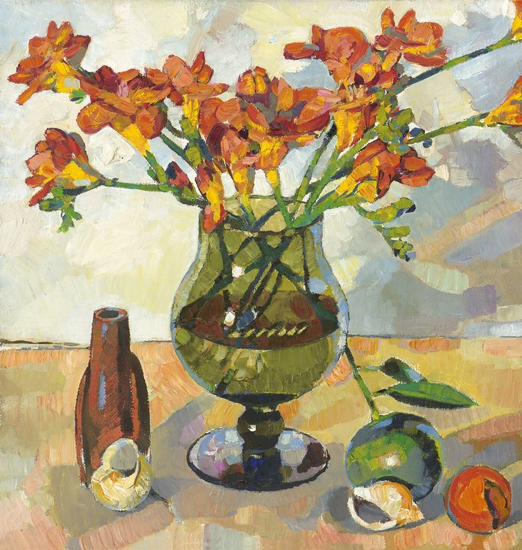 Anthony Springford, Freesias in Green Glass, giclee print, 2014