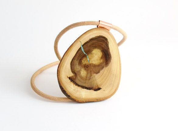 Necklace from a pear tree and turquoise,Wood  pendant necklace, Wooden Necklace, Wooden Pendant,Wooden Jewelry by Mazunii on Etsy