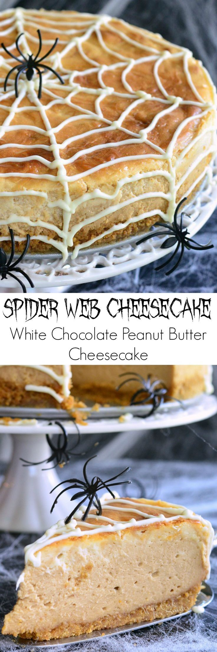 Spider Web Cheesecake (White Chocolate Peanut Butter Cheesecake). It's easy to turn a delicious dessert into a spooky Halloween treat.