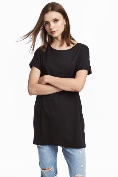 Long T-shirt - Black - Ladies | H&M GB I've now bought 3 black, 1 white and 1 in dark red.  Decent quality, very wide. More colours in-store than online. Would like in navy & dark green (not marled) if these colours exist. I am dyeing the dark red one in Dylon burlesque red as i prefer a deeper colour.