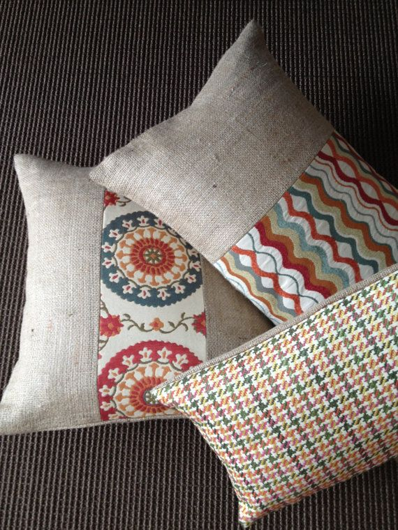 houndstooth fabric and burlap lumbar pillow cover by