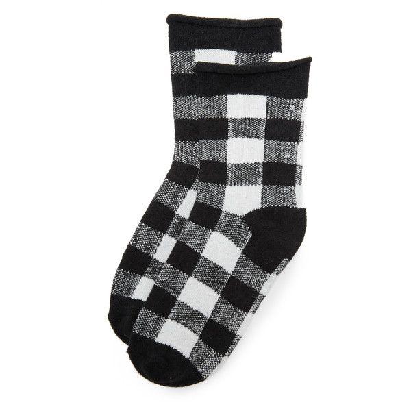 Plush Rolled Fleece Plaid Socks ($16) ❤ liked on Polyvore featuring intimates, hosiery, socks, short socks, tennis socks, fleece socks, tartan socks and ankle socks